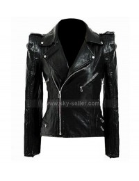 Kate Moss Motorcycle Black Leather Jacket